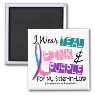 I Wear Thyroid Cancer Ribbon For Sister-In-Law 37 Square Magnet
