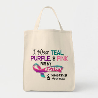 I Wear Thyroid Ribbon For My Sister Grocery Tote Bag