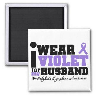 I Wear Violet For My Husband Hodgkins Lymphoma Square Magnet