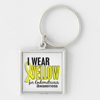 I Wear Yellow For Awareness 10 Endometriosis Silver-Colored Square Key Ring