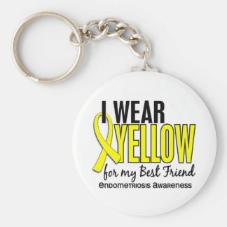 I Wear Yellow For My Best Friend 10 Endometriosis Basic Round Button Key Ring