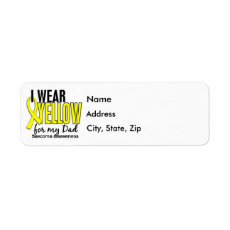 I Wear Yellow For My Dad 10 Sarcoma Return Address Label