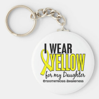 I Wear Yellow For My Daughter 10 Endometriosis Basic Round Button Key Ring