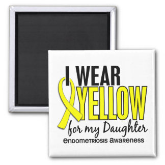 I Wear Yellow For My Daughter 10 Endometriosis Square Magnet