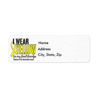 I Wear Yellow For My Great Grandpa 10 Sarcoma Return Address Label