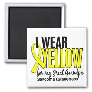 I Wear Yellow For My Great Grandpa 10 Sarcoma Square Magnet