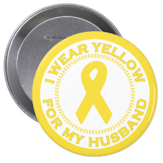 I Wear Yellow For My Husband 10 Cm Round Badge