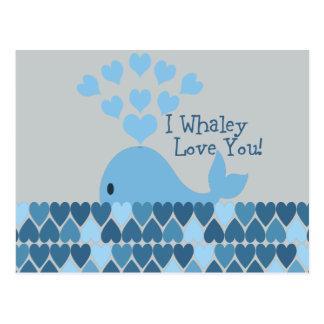 I Whaley Love You! Blue Postcard