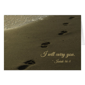 I Will Carry You Sand Footprints Card