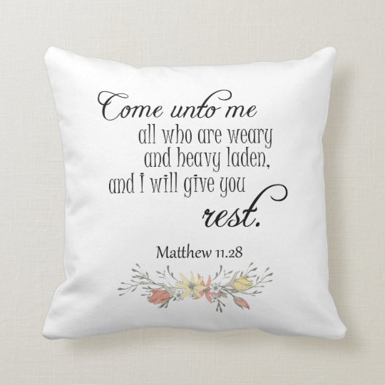 I will give you rest Bible Verse Throw