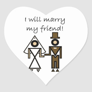 I Will Marry My Friend Heart Stickers