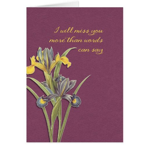 I will miss you, hospice, final goodbye greeting card