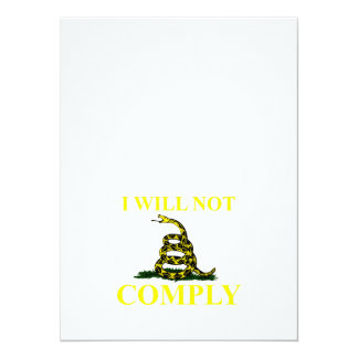 """I Will Not Comply 5.5"""" X 7.5"""" Invitation Card"""