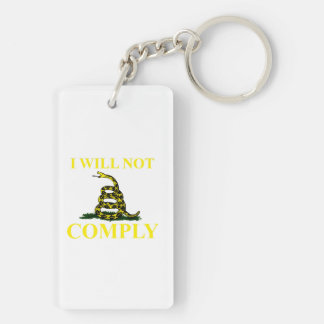 I Will Not Comply Double-Sided Rectangular Acrylic Keychain
