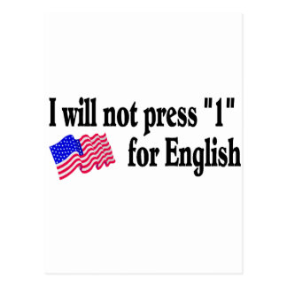 I Will Not Press 1 For English Postcard