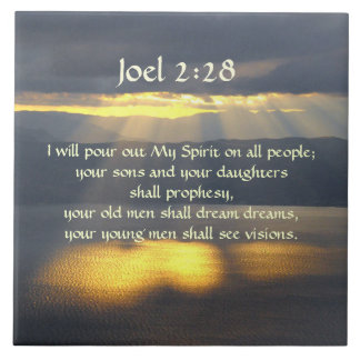 I will pour out My Spirit Joel 2 28, Bible Verse Large Square Tile