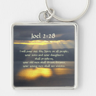 I will pour out My Spirit Joel 2 28, Bible Verse Silver-Colored Square Key Ring