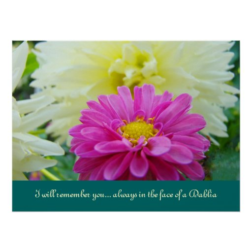 I will remember you Always in the face of a Dahlia Posters