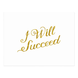 I Will Succeed Gold Faux Glitter Metallic Sequins Postcard