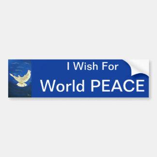 I WISH FOR WORLD PEACE,WHITE DOVE BUMPER STICKER