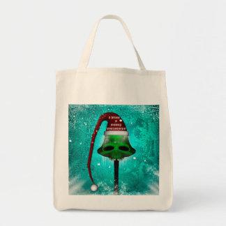 I wish you a merry christmas, funny skull mushroom grocery tote bag