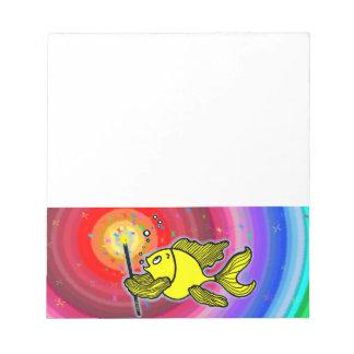 I WISH YOU luck fish cartoon magic wand gift Notepad