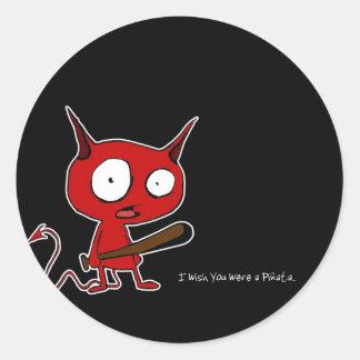 I wish you were a pinata round sticker