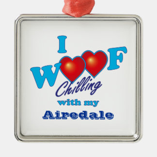 I Woof Airedale Terrier Christmas Ornament