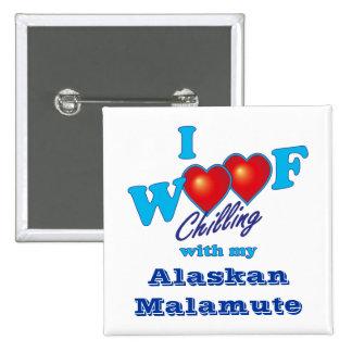 I Woof Alaskan Malamute Pins