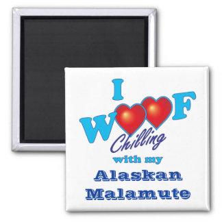 I Woof Alaskan Malamute Square Magnet