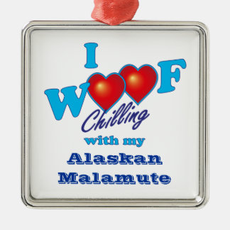I Woof Alaskan Malamute Silver-Colored Square Decoration
