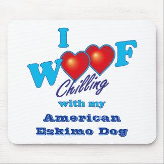 I Woof American Eskimo Dog Mousepads