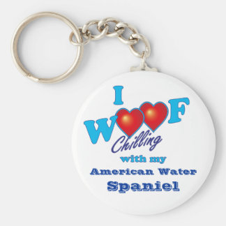 I Woof American Water Spaniel Basic Round Button Key Ring