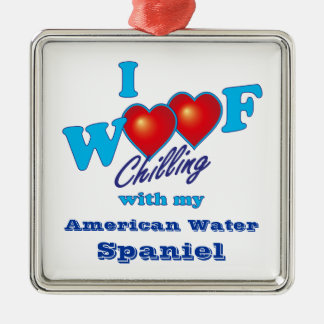 I Woof American Water Spaniel Silver-Colored Square Decoration