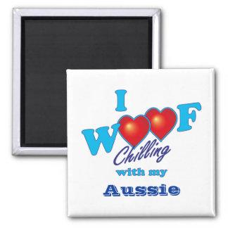 I Woof Aussie Square Magnet
