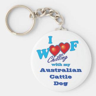 I Woof Australian Cattle Dog Basic Round Button Key Ring