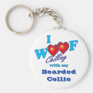 I Woof Bearded Collie Key Ring