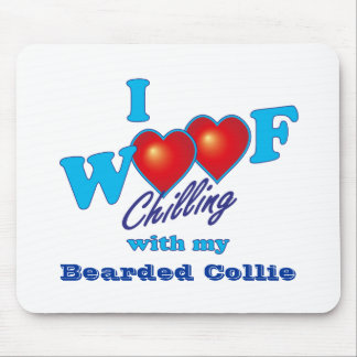 I Woof Bearded Collie Mouse Pad