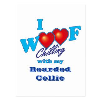 I Woof Bearded Collie Postcard