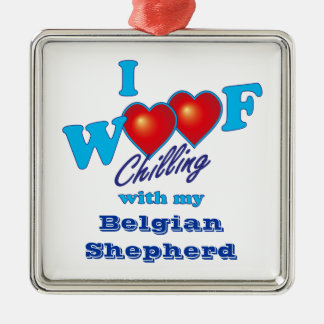 I Woof Belgian Shepherd Silver-Colored Square Decoration