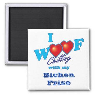 I Woof Bichon Frise Square Magnet