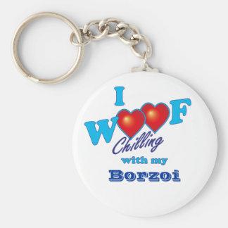 I Woof Borzoi Key Ring