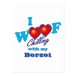 I Woof Borzoi Postcard