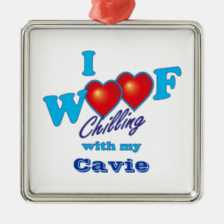 I Woof Cavie Silver-Colored Square Decoration