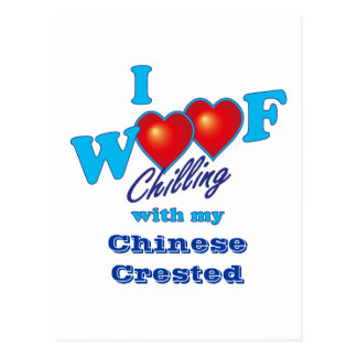 I Woof Chinese Crested Postcard