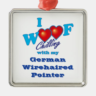 I Woof German Wirehaired Pointer Christmas Ornament