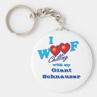 I Woof Giant Schnauzer Basic Round Button Key Ring