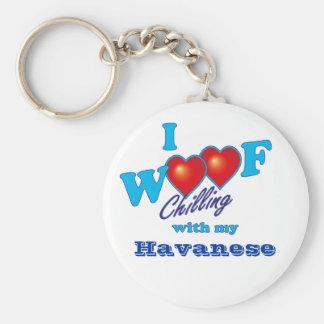 I Woof Havanese Basic Round Button Key Ring