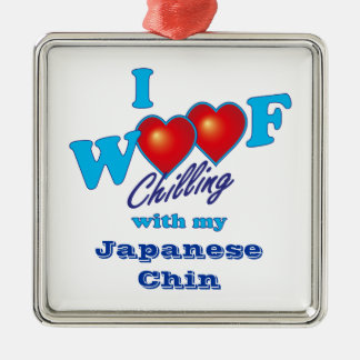 I Woof Japanese Chin Silver-Colored Square Decoration