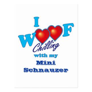 I Woof Miniature Schnauzer Postcard